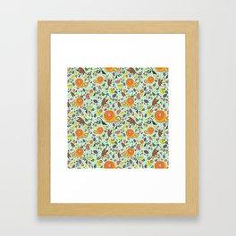 Cute Monkeys and Fruit Framed Art Print