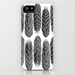 Black Stripe Feathers iPhone Case