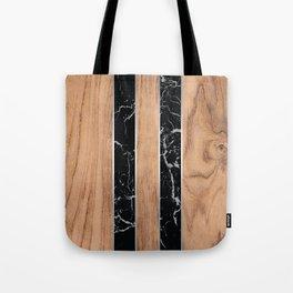 Wood Grain Stripes Black Granite #175 Tote Bag