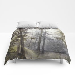 Wet Morning in the Forest Comforters