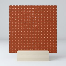 Light grey dots on rust Mini Art Print
