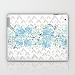Gray arrows and blue flowers Laptop & iPad Skin