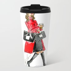 Walking Out of 5th Avenue Fashion Illustation by Elaine Biss Metal Travel Mug