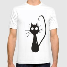 Cat Mens Fitted Tee MEDIUM White