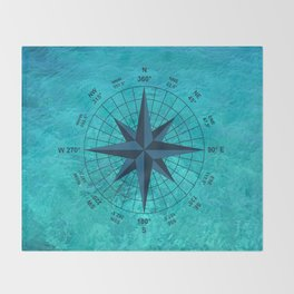 Compass on Turquoise Water Throw Blanket
