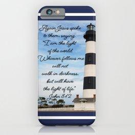 Bodie Island Lighthouse-North Carolina -With John 8:12 iPhone Case