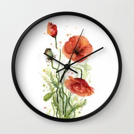 Red Poppies Watercolor Flower Floral Art Wall Clock