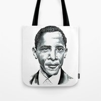 obama Tote Bags featuring Obama by Bridget Davidson