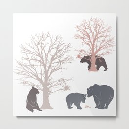 Morning Bears In The Woods No. 2 Metal Print