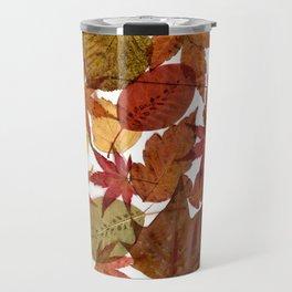 Autumn / Fall copper & gold leaves in English park - Oak, Beech Travel Mug
