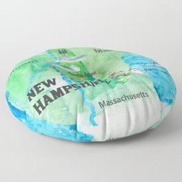 USA New Hampshire State Travel Poster Map with Touristic Highlights Floor Pillow