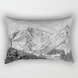 Child on the rock - Black ink Rectangular Pillow