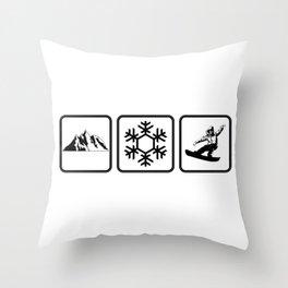 Cool Mountains Snow Snowboarding Shredding Shirt Throw Pillow