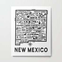 New Mexico Map  Metal Print