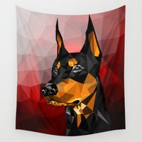 doberman Wall Tapestries featuring Doberman by Ruveyda & Emre
