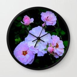 Miniature English Pink-White Roses Garden Wall Clock