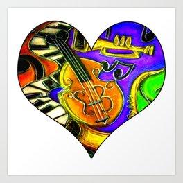 Mardi Gras Jazz Musical Heart Art Print