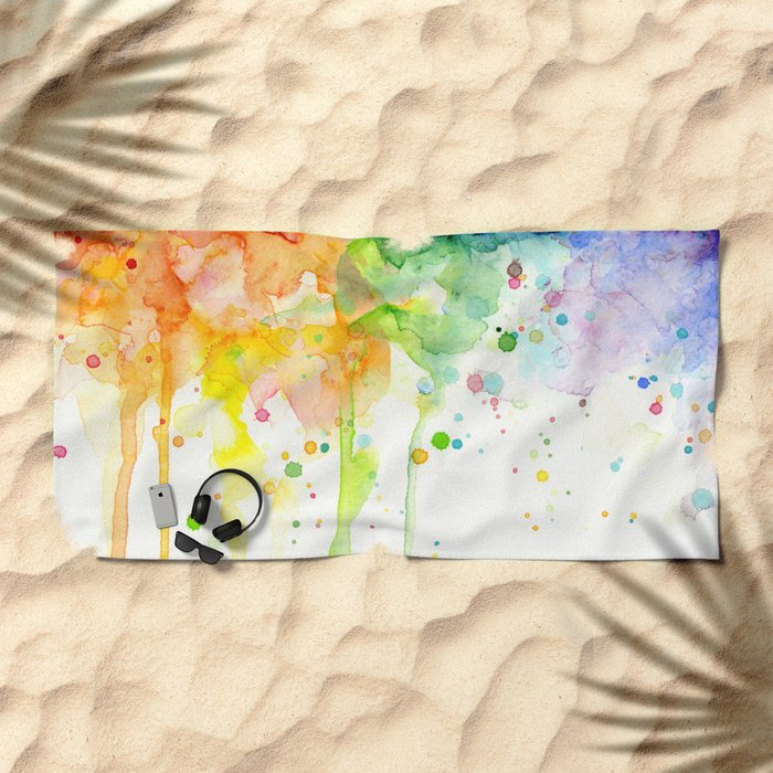 Watercolor Rainbow Splatters Abstract Texture Beach Towel