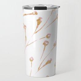 Delicate Blossom Pink + Gold Glitter Travel Mug