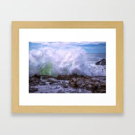 Inner Strength waves crashing at Moonstone Beach California Framed Art Print