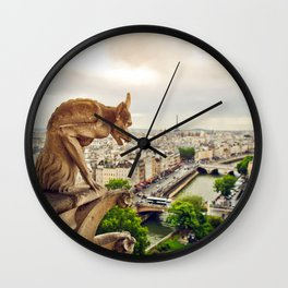 Gargoyles in Paris, France, Basilica of Notre Dame Wall Clock