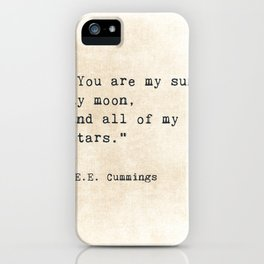 EE Cummings, Sun Moon Stars Quote, Love iPhone Case