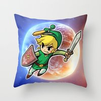 triforce Throw Pillows featuring Triforce Hero by Febrian89