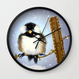 Chickadee, Puffybuttons Wall Clock