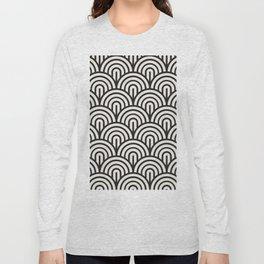 black & white geometric pattern mid century modern fish scales art deco pattern Long Sleeve T-shirt