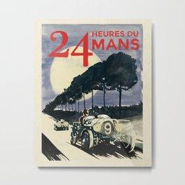 24 Heures du Mans, Hand Painted, vintage Poster Metal Print