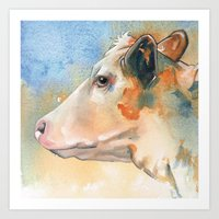 cow Art Prints featuring Cow by Annabel Chance