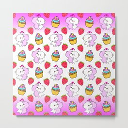 Cute happy cuddling funny Kawaii baby kittens, sweet red summer strawberries and colorful yummy cupcakes bright white design. Nursery decor. Metal Print