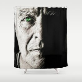Black and white painting - Man with one green eye - Jeanpaul Ferro Shower Curtain