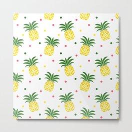 Tropical fruit sunshine yellow green pineapple polka dots Metal Print