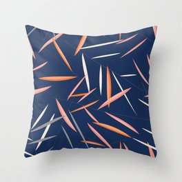 Colored leaves in a dark blue background Throw Pillow