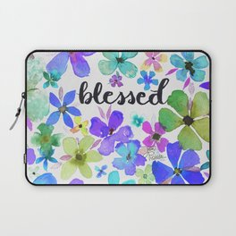 Blessed Among the Blue Flowers Watercolor Painting Laptop Sleeve