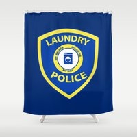 police Shower Curtains featuring Laundry Police by Julie Luke