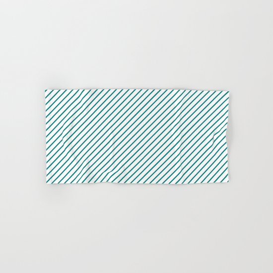 Diagonal Lines (Teal/White) Hand & Bath Towel