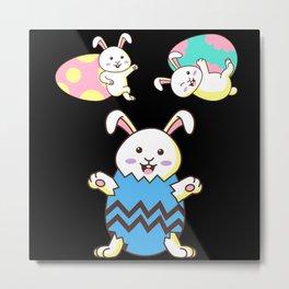Easter Rabbit Funny Animal Rabbits Bunny Gift Metal Print