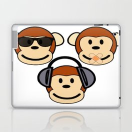 Illustration of Cartoon Three Monkeys - See, Hear, Speak No Evil Laptop & iPad Skin