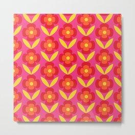 Retro happy bright floral 4 Metal Print