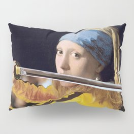 Beatrix Kiddo and Vermeer's Girl with a Pearl Earring Pillow Sham