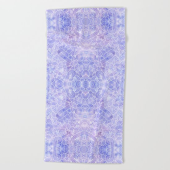 Lavender and white swirls doodles Beach Towel