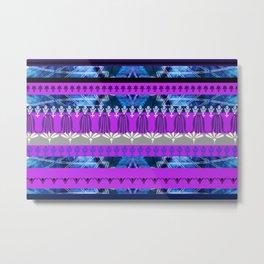 ornament stripes pattern blue pink Metal Print