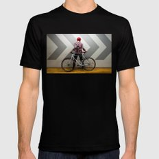 girl with bicycle Mens Fitted Tee Black LARGE