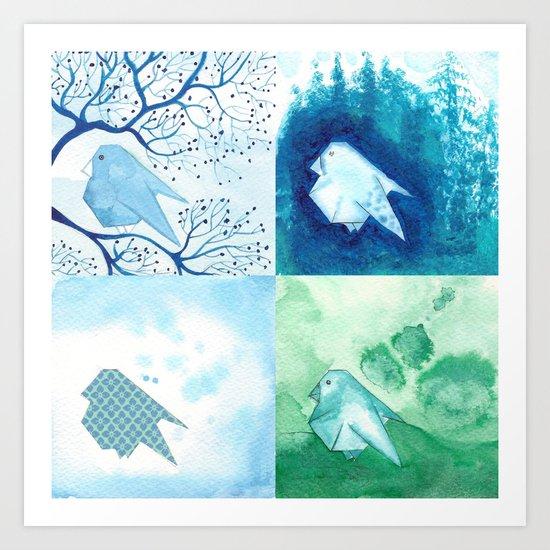 4 Birds Art Print