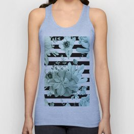 Succulents in the Garden Teal Blue Green Gradient with Black Stripes Unisex Tank Top
