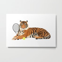 Tennis Tiger Metal Print