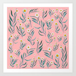 White Flowers Draw in Pink Art Print