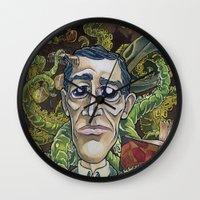 lovecraft Wall Clocks featuring H.P. Lovecraft by Pajamarai Illustrations